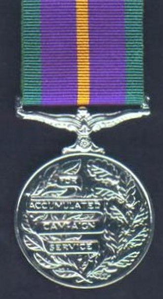 Accumulated Campaign Service Medal - Reverse of the medal and the ribbon of the Accumulated Campaign Service Medal