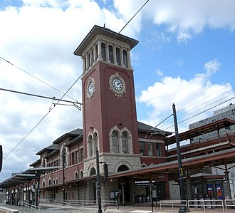 Newark Broad Street station - Image: Broad St Sta Newark tower jeh