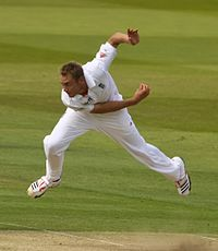 England fast-bowler Stuart Broad bowling.