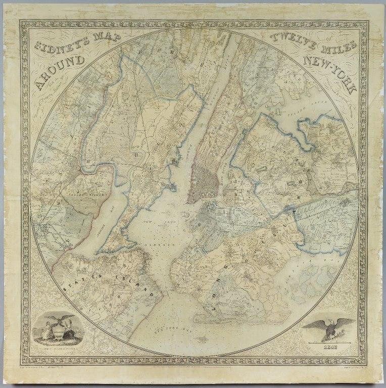Brooklyn Museum - Sidney's Map Twelve Miles Around New York - Norman Friend