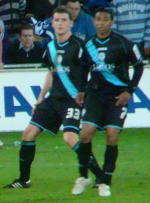 Alex Bruce (footballer, born 1984) - Bruce (left) and Nolberto Solano playing for Leicester City in 2010