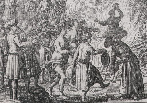 Brulement des femmes aux Indes, an unsigned Dutch-school etching, c.1700-25; a closeup view