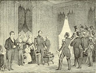 Leopold I of Belgium - Engraving of Leopold's theatrical offer in 1848 to abdicate if it was the will of the Belgian people