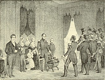A depiction of Leopold I of Belgium's symbolic offer to resign the crown in 1848 Bruxelles à travers les âges (1884) (14740791186).jpg