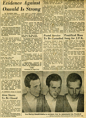 English: Newspaper article on Lee Harvey Oswald