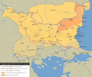 George I of Bulgaria - Bulgaria in the second half of the 13th century. Darker orange shows the Empire under George I Terter.