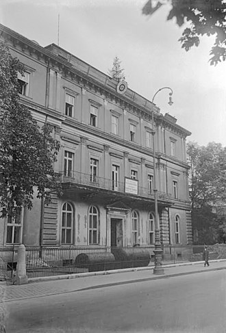 "1st SS-Standarte - Nazi Party headquarters in Munich, which opened in 1931 when the Party leadership moved into the building. The ""Brown House"" also served as the HQ of the 1st SS Standarte."