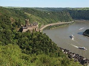 English: Location of Katz castle above Sankt G...