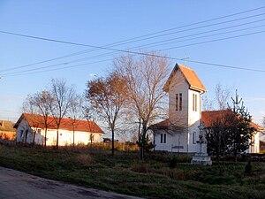 Busenje - Busenje - center of village with new Catholic church 1993.