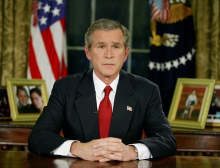 "President George W. Bush addresses the nation from the Oval Office, 19 March 2003, to announce the beginning of Operation Iraqi Freedom. ""The people of the United States and our friends and allies will not live at the mercy of an outlaw regime that threatens the peace with weapons of mass murder."" The Senate committee found that many of the administration's pre-war statements about Iraqi WMD were not supported by the underlying intelligence Bush announces Operation Iraqi Freedom 2003.jpg"