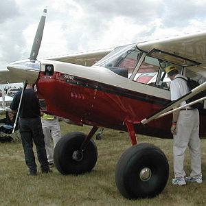 Bush plane - An American Champion Scout. Note the oversized tundra tires, for use on rough surfaces.
