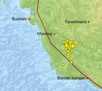 2013 Bushehr earthquake - Location of aftershocks in the first four days after the mainshock