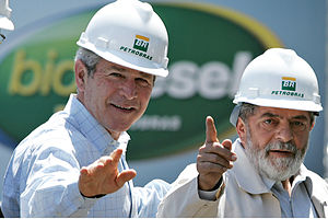 Food vs. fuel - Presidents Luiz Inácio Lula da Silva and George W. Bush during Bush's visit to Brazil, March 2007