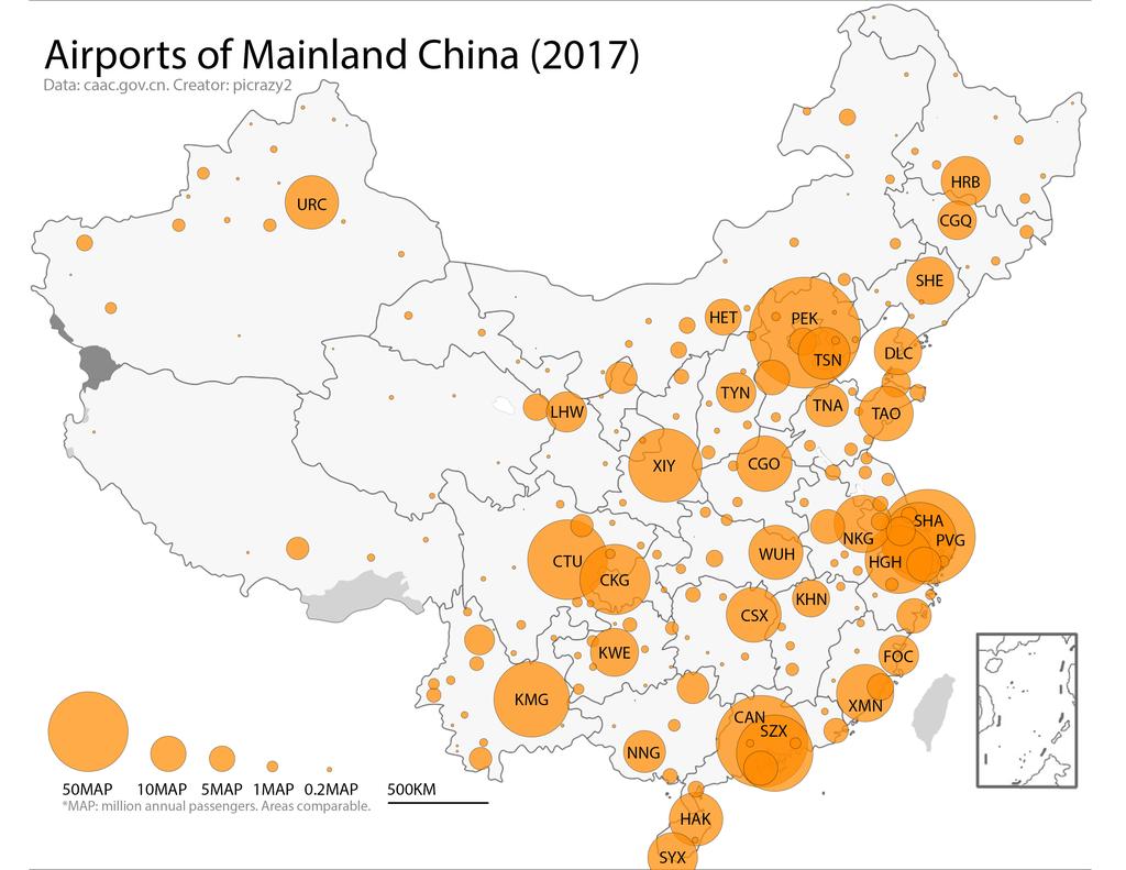 Kiinan lentokentät kartta