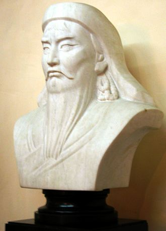 Genghis Khan - A bust of Genghis Khan adorns a wall in the presidential palace in Ulaanbaatar, Mongolia.