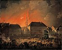 C.A. Lorentzen - The Most Terrible Night. View of Kongens Nytorv in Copenhagen During the English Bombardement of Cop - KMS3468 - Statens Museum for Kunst.jpg