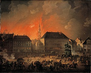 C.A. Lorentzen - The Most Terrible Night. View of Kongens Nytorv in Copenhagen During the English Bombardement of Cop - KMS3468 - Statens Museum for Kunst