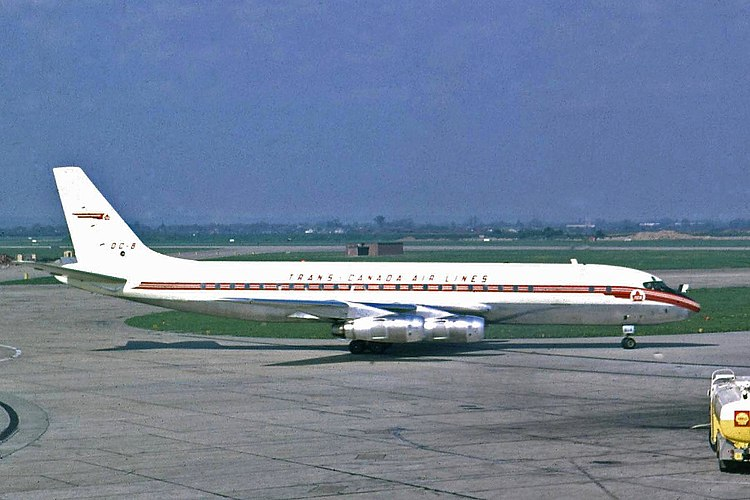 Trans Canada Air Lines Douglas DC-8-54CF (CF-TJN) at London Heathrow Airport. This aircraft crashed on 29 November 1963, only several months after this photo as taken