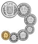 Schweiziske mønter. 5, 10 og 20 rappen. ½, 1, 2 og 5 franc.