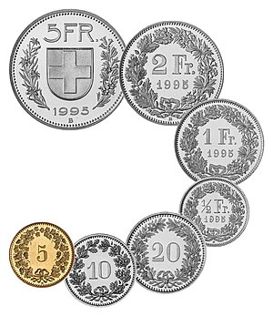 Coins of the Swiss franc - The current series of the Swiss franc.