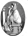 Caesar, Gajus Julius, 100 - 44 BC, Roman politician, wife Calpurnia, wood engraving after cameo, Cape de France.png