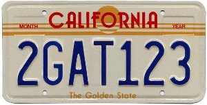 California Golden State license plate 1982-1987 2GAT123