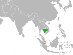Map indicating locations of Cambodia and Singapore