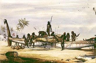 Torres Strait Islands - Trading canoe at Erub (Darnley Island), c. 1849