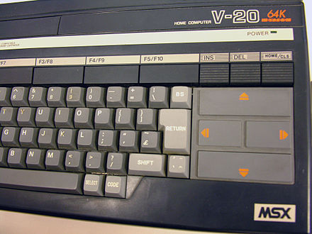 The Canon V-20 has 64 KB of RAM while its little brother, the V-10, has 16 KB. Canon V-20 MSX computer.jpg