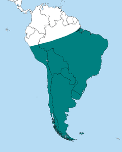 Map showing range of the Southern Crested Caracara