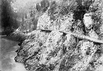 Colony of British Columbia (1858–1866) - A portion of the Cariboo Road in the Fraser Canyon, c. 1867