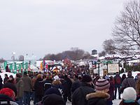 Crowd at the Place de la Famille, a Quebec Winter Carnival site on the Plains of Abraham
