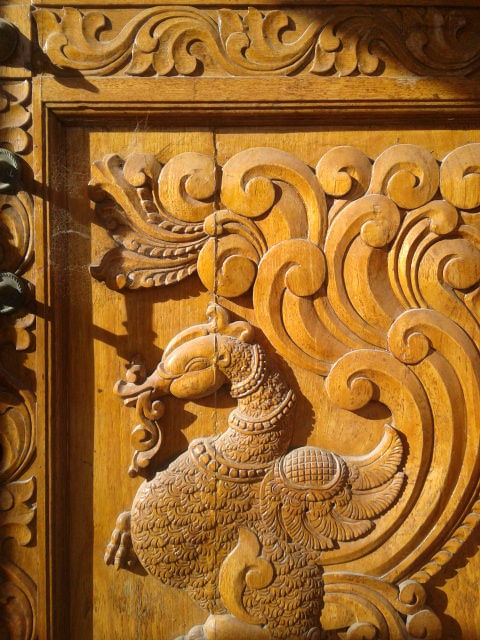 File carving on the doors of shiva vishnu temple in