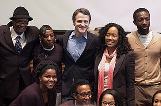 Jim True-Frost - Frost (center) with (from left to right) Donnie Andrews, Fran Boyd, Sonja Sohn, and Jamie Hector, (Andre Royo is in the bottom row)