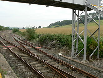 Catch points - North Castle Cary railway station in Somerset; these trap points would run the derailed train into a footbridge.