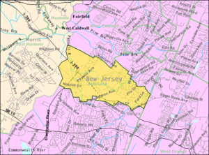 Roseland, New Jersey - Image: Census Bureau map of Roseland, New Jersey
