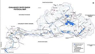 Chalakudy River - Image: Chalakudy River Basin Map