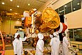 Chandrayaan-2 orbiter in clean-room being integrated with payloads.jpg