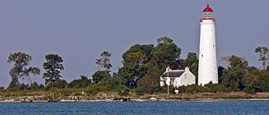 Southampton, Ontario - Chantry Island lighthouse and keeper's cottage, from the licensed tour boat