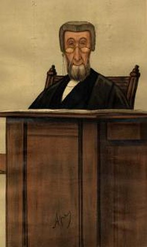 """Charles Parker Butt - """"divorce"""". Caricature by Ape published in Vanity Fair in 1887."""