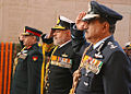 Chief of Air Staff, Air Chief Marshall NAK Browne, Chief of Naval Staff, Admiral DK Joshi and Vice Chief of the Army Lt Gen SK Singh paying homage at Amar Jawan Jyoti.JPG