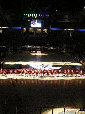 Spokane Chiefs - The Chiefs line up for a game with the Tri-City Americans.