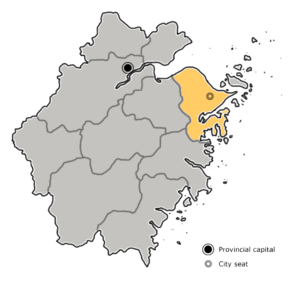 Ningbo is highlighted on this map