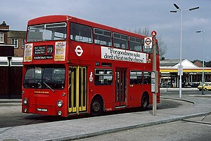 Daimler Fleetline - London Transport MCW-bodied Daimler Fleetline in Chingford in April 1980