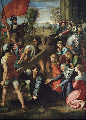 Via Dolorosa - Il Spasimo, Jesus carrying the cross, by Raphael, 1516