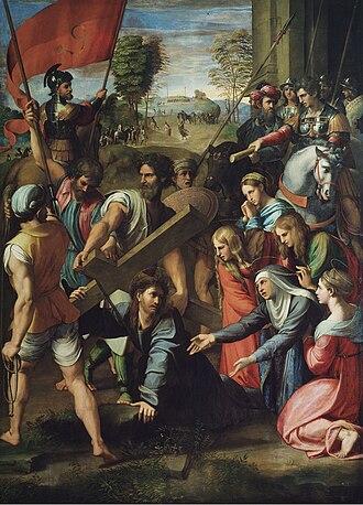 Via Dolorosa - Il Spasimo, Jesus carrying the cross, by Raphael, 1516