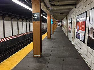 City Hall (BMT Broadway Line) - The renovated platform; the wall on the right is for maintenance closets