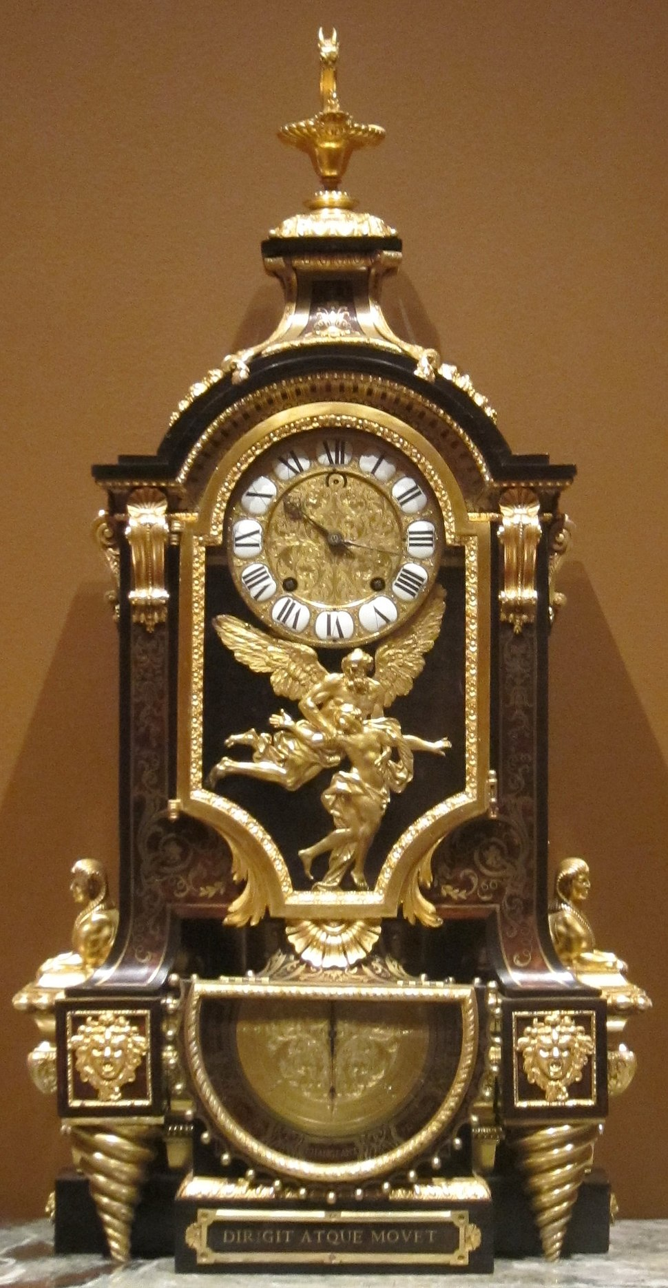 Clock, c. 1695, tortoise shell and brass inlay, gilt bronze, Andr%C3%A9-Charles Boulle, Cleveland Museum of Art