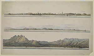 Qatar National Library - A drawing of three coastal towns in Arabia by Thomas Elwon in the 1830s obtained from QDL.