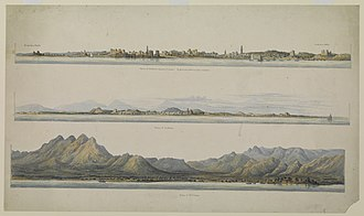 Qatar Digital Library - A drawing of three coastal towns in Arabia by Thomas Elwon in the 1830s obtained from Qatar Digital Library.